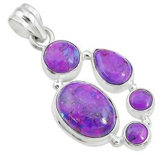 925 sterling silver 13.77cts purple copper turquoise pendant jewelry t10644