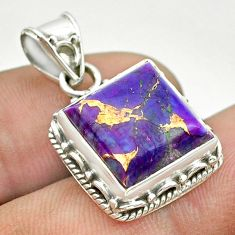 925 sterling silver 6.53cts purple copper turquoise pendant jewelry t53175