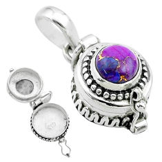 925 sterling silver 2.01cts purple copper turquoise poison box pendant t52604