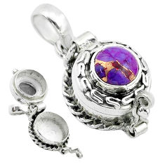 925 sterling silver 2.23cts purple copper turquoise poison box pendant t52611