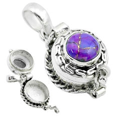 925 sterling silver 2.24cts purple copper turquoise poison box pendant t52616