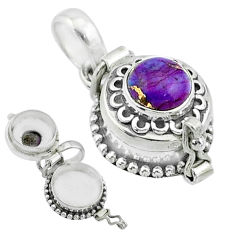 925 sterling silver 2.10cts purple copper turquoise poison box pendant t52623