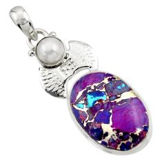 925 sterling silver 18.46cts purple copper turquoise white pearl pendant d44952