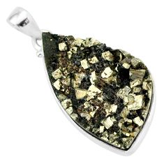925 sterling silver 19.72cts pyrite on basalt matrix fancy pendant r85679