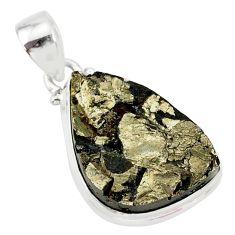 925 sterling silver 17.57cts pyrite on basalt matrix fancy pendant r85758