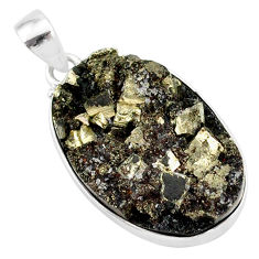 925 sterling silver 23.95cts pyrite on basalt matrix oval pendant r85650