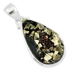 925 silver 14.07cts pyrite on basalt matrix pear handmade pendant r85690