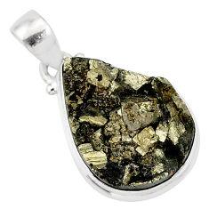 925 silver 14.65cts pyrite on basalt matrix pear handmade pendant r85694