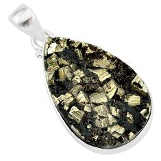 925 sterling silver 18.10cts pyrite on basalt matrix pear shape pendant r85644
