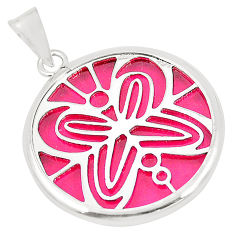 925 sterling silver red bling topaz (lab) round pendant jewelry c23213