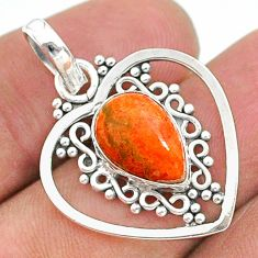 925 sterling silver 4.05cts red copper turquoise pear pendant jewelry t35725