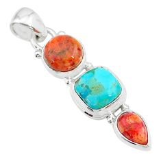 925 sterling silver 8.12cts red coral arizona mohave turquoise pendant t18724