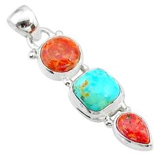 925 sterling silver 7.68cts red coral arizona mohave turquoise pendant t18726