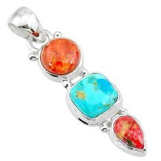 925 sterling silver 8.07cts red coral arizona mohave turquoise pendant t18729