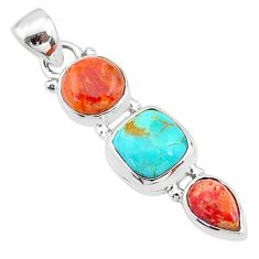 925 sterling silver 8.12cts red coral arizona mohave turquoise pendant t18736