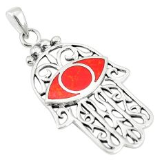 925 sterling silver red coral enamel hand of god hamsa pendant a79724 c13740