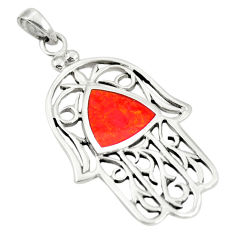 925 sterling silver red coral enamel hand of god hamsa pendant a79740 c13826