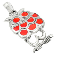 925 sterling silver red coral enamel owl pendant jewelry a79764 c13799