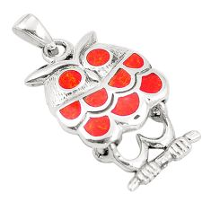 925 sterling silver red coral enamel owl pendant jewelry a79793 c13789