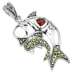 925 sterling silver red garnet quartz marcasite fish pendant jewelry c22856