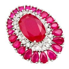 925 sterling silver 11.36cts red ruby (lab) oval topaz pendant jewelry c9924