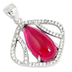 925 sterling silver 5.52cts red ruby (lab) white topaz pendant jewelry c23502