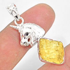 925 sterling silver 7.40cts scapolite fancy shape horse pendant r80968