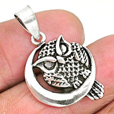 925 sterling silver 3.69gms solid cresent moon owl pendant t6284