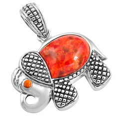 925 sterling silver southwestern red copper turquoise elephant pendant c10495