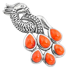 925 sterling silver southwestern red copper turquoise peacock pendant c10471