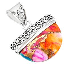 925 sterling silver 14.47cts spiny oyster arizona turquoise fancy pendant r85060