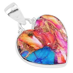 925 sterling silver 11.17cts spiny oyster arizona turquoise heart pendant r93427