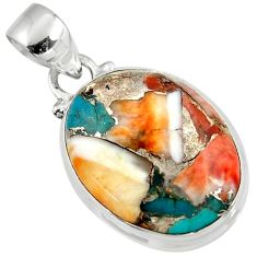 925 sterling silver 12.65cts spiny oyster arizona turquoise oval pendant r47719