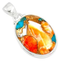 925 sterling silver 13.15cts spiny oyster arizona turquoise oval pendant r83424