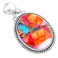 925 sterling silver 15.08cts spiny oyster arizona turquoise oval pendant r93493