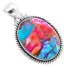 925 sterling silver 13.03cts spiny oyster arizona turquoise oval pendant r93499