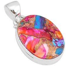 925 sterling silver 11.73cts spiny oyster arizona turquoise oval pendant r93618