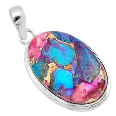 925 sterling silver 15.08cts spiny oyster arizona turquoise oval pendant t32264
