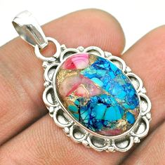925 sterling silver 11.18cts spiny oyster arizona turquoise oval pendant t53163