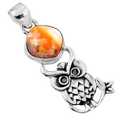 925 sterling silver 5.38cts spiny oyster arizona turquoise owl pendant r52929