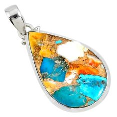 925 sterling silver 16.28cts spiny oyster arizona turquoise pear pendant r81193