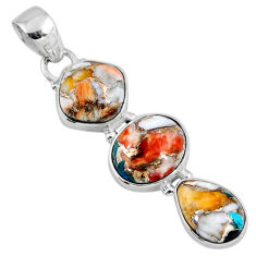 925 sterling silver 15.08cts spiny oyster arizona turquoise pendant r56198