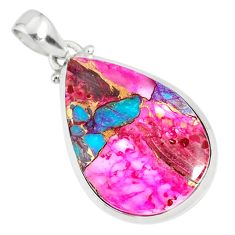 925 sterling silver 16.82cts spiny oyster arizona turquoise pink pendant r81237