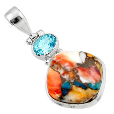 925 sterling silver 14.90cts spiny oyster arizona turquoise topaz pendant r47865