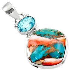 925 sterling silver 16.32cts spiny oyster arizona turquoise topaz pendant r47871