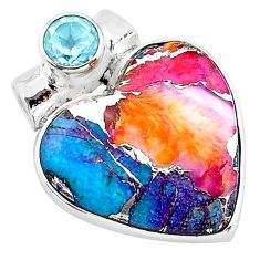 925 sterling silver 12.60cts spiny oyster arizona turquoise topaz pendant t13171