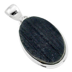 925 sterling silver ultimate protection black tourmaline raw pendant r96713