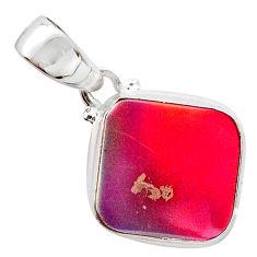 925 silver 3.64cts volcano aurora opal (lab) cushion pendant jewelry t25875