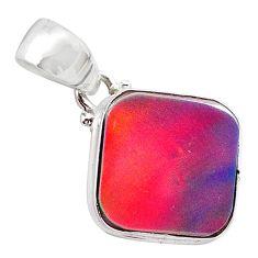 925 silver 4.01cts volcano aurora opal (lab) cushion pendant jewelry t25880
