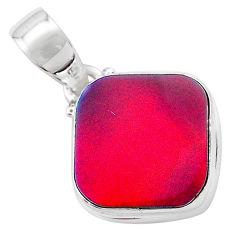 925 silver 4.10cts volcano aurora opal (lab) cushion pendant jewelry t25892